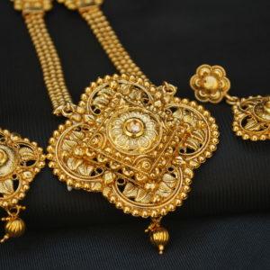 artificial geometrical motif artificial long haram necklace set