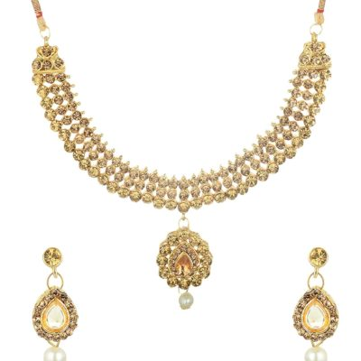 artificial gold stone artificial choker necklace set-3