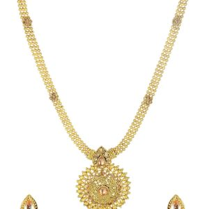 artificial golden long necklace sets