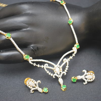 artificial green american diamond necklace set-1