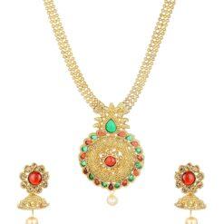 artificial imitation gold tone floral multicolour necklace set-3