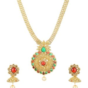 artificial imitation gold tone floral multicolour necklace set-3