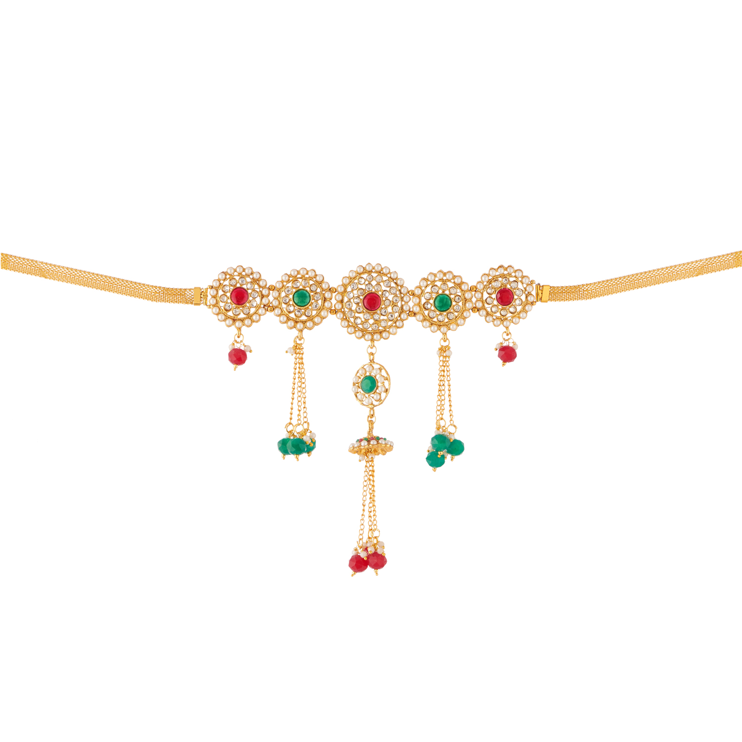 artificial imitation jewellery multicolour stone and pearls embellished kamarpatta-1