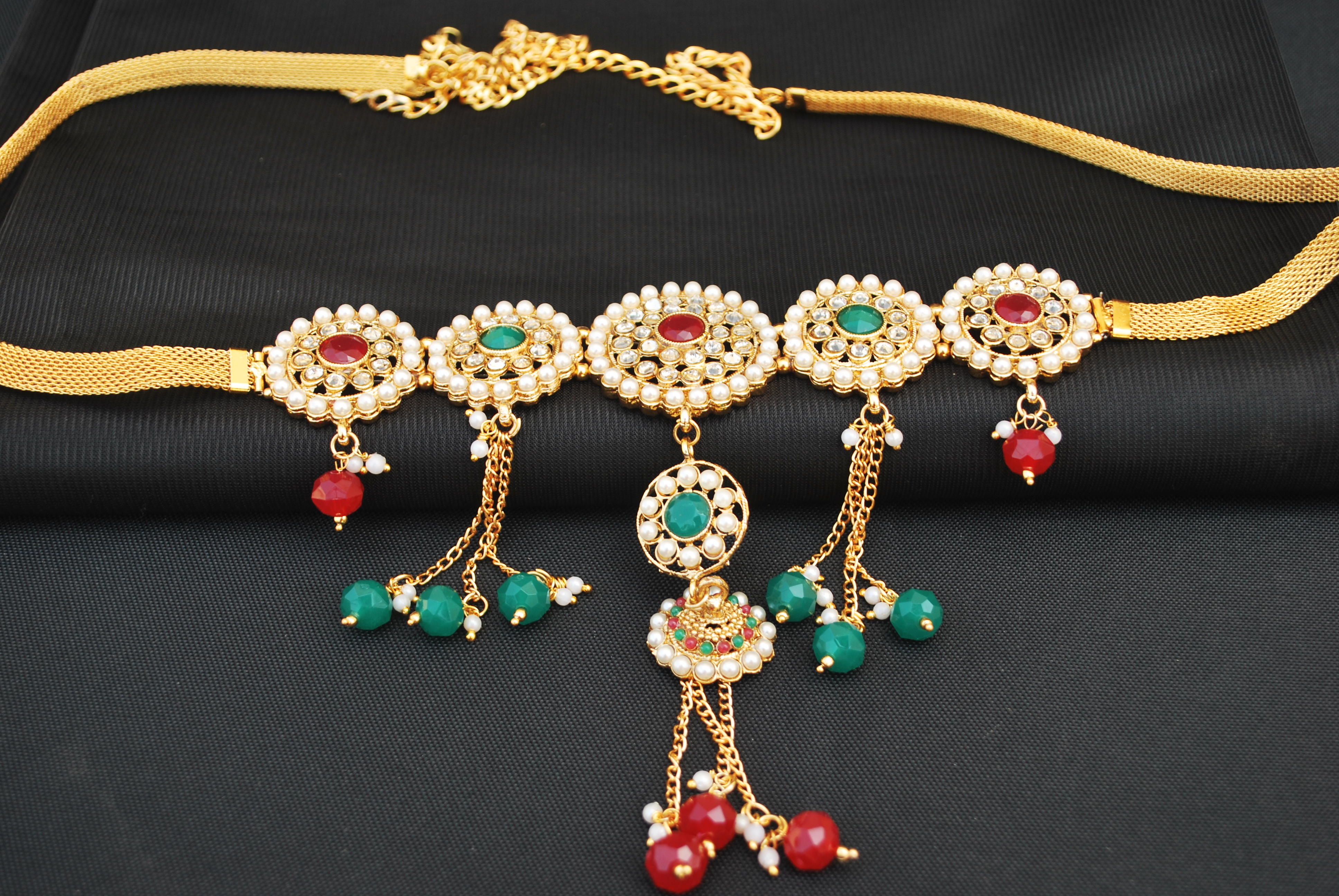 artificial imitation jewellery multicolour stone and pearls embellished kamarpatta