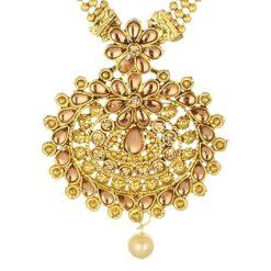 artificial long yellow kundan necklace set-1