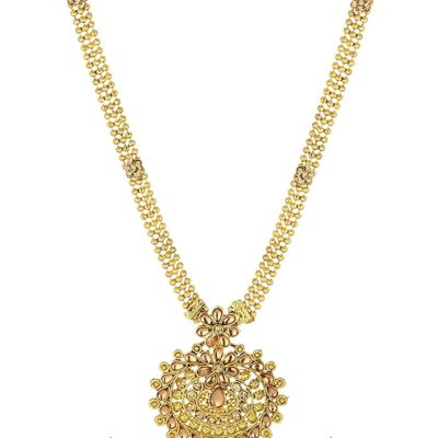 artificial long yellow kundan necklace set