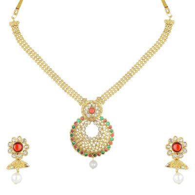 artificial round pendant multicolour artificial necklace set