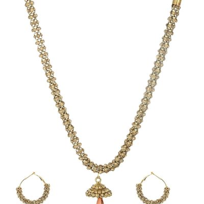 artificial sarwoski style bronze necklace set