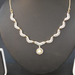 artificial white pearls ad necklace set