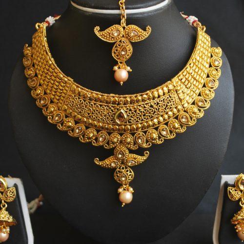 Imitation artificial imitation intricately mango design motif choker necklace set
