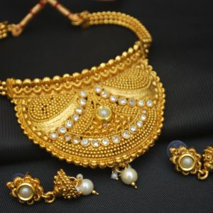 Imitation artificial distinctively designed artificial choker necklace set-2