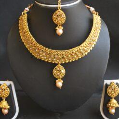 Imitation artificial golden kundan choker necklace set with maang tikka