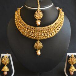 Imitation artificial imitation gold tone choker necklace set with maang tikka-1