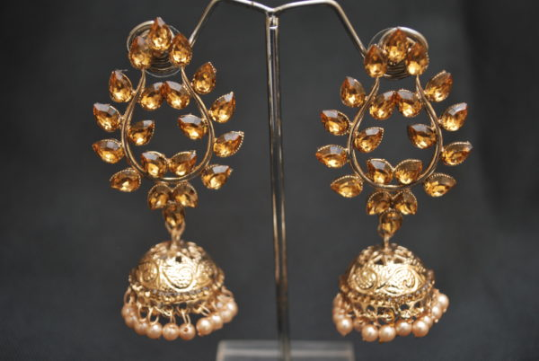 artificial golden leaf motif stone studded jhumki