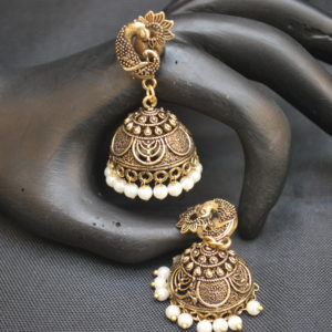 artificial imitation elegant oxidised jhumkii