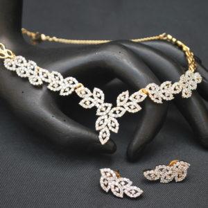 artificial leaf motif american diamond necklace set
