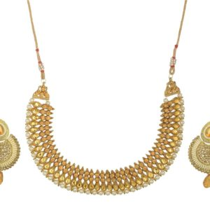 Imitaion artificial reeti fashions – gold tone studded necklace set