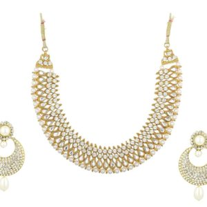 Imitation artificial reeti fashions – white stone studded choker necklace set with matching earrings