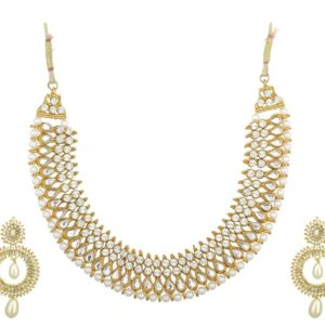 Imitation artificial reeti fashions – white studded necklace set with earrings