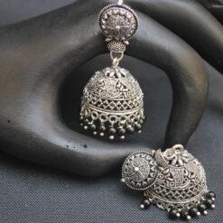 imitation oxidised black beaded jhumki