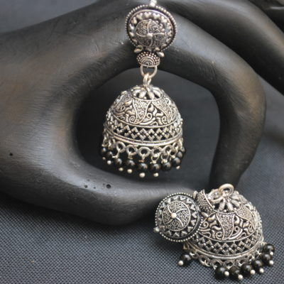 imitation oxidised black beaded jhumki