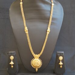 artificial elegantly carved beaded chain round artificial traditional necklace set-1