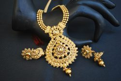 artificial gold stone studded beaded chain wedding jewelry