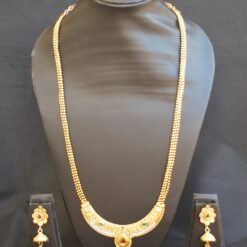 artificial green, maroon and white stone studded long necklace set-1
