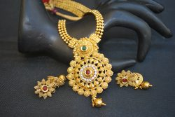 artificial imitation multicolour stone studded round motif indian jewelry