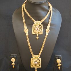 artificial indian traditional green and maroon stone studded square motif layer necklace set-1