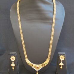 artificial intricately carved artificial multicolour stone studded jewelry set with beaded chain-1