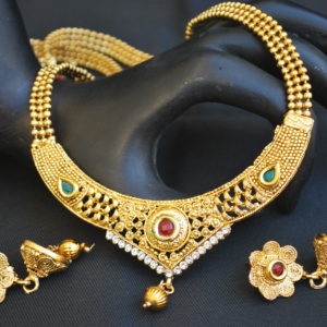 artificial intricately carved artificial multicolour stone studded jewelry set with beaded chain