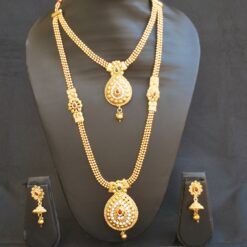 artificial multicolour stone studded beaded chain 2 layer necklace set-1