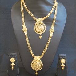 artificial round motif delicated crafted 2 layer necklace set in gold-1