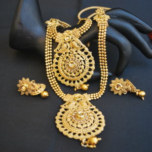 artificial round motif delicated crafted 2 layer necklace set in gold