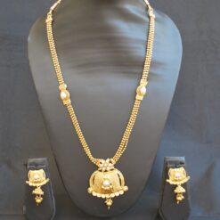 artificial shimmering floral motif gold tone long necklace set-1