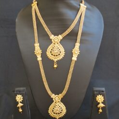 artificial traditional gold beaded chain 2 layer gold necklace set-1
