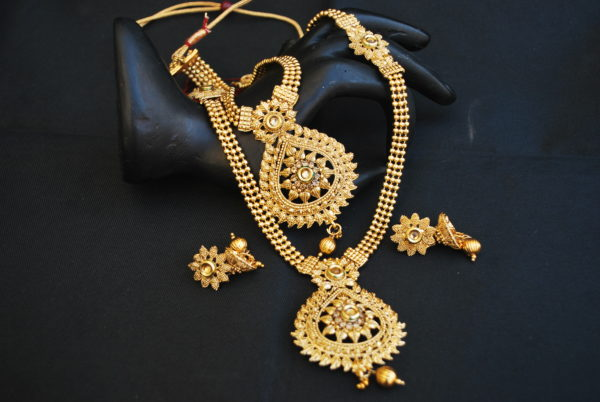 artificial traditional gold beaded chain 2 layer gold necklace set