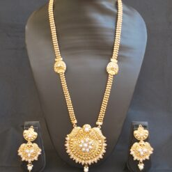 Imitation artificial studded white stone golden long necklace set-3