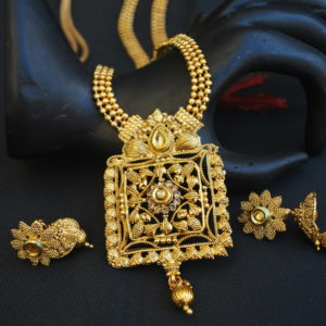 Imitation artificial traditional long haram geometric motif indian stone studded necklace set-1