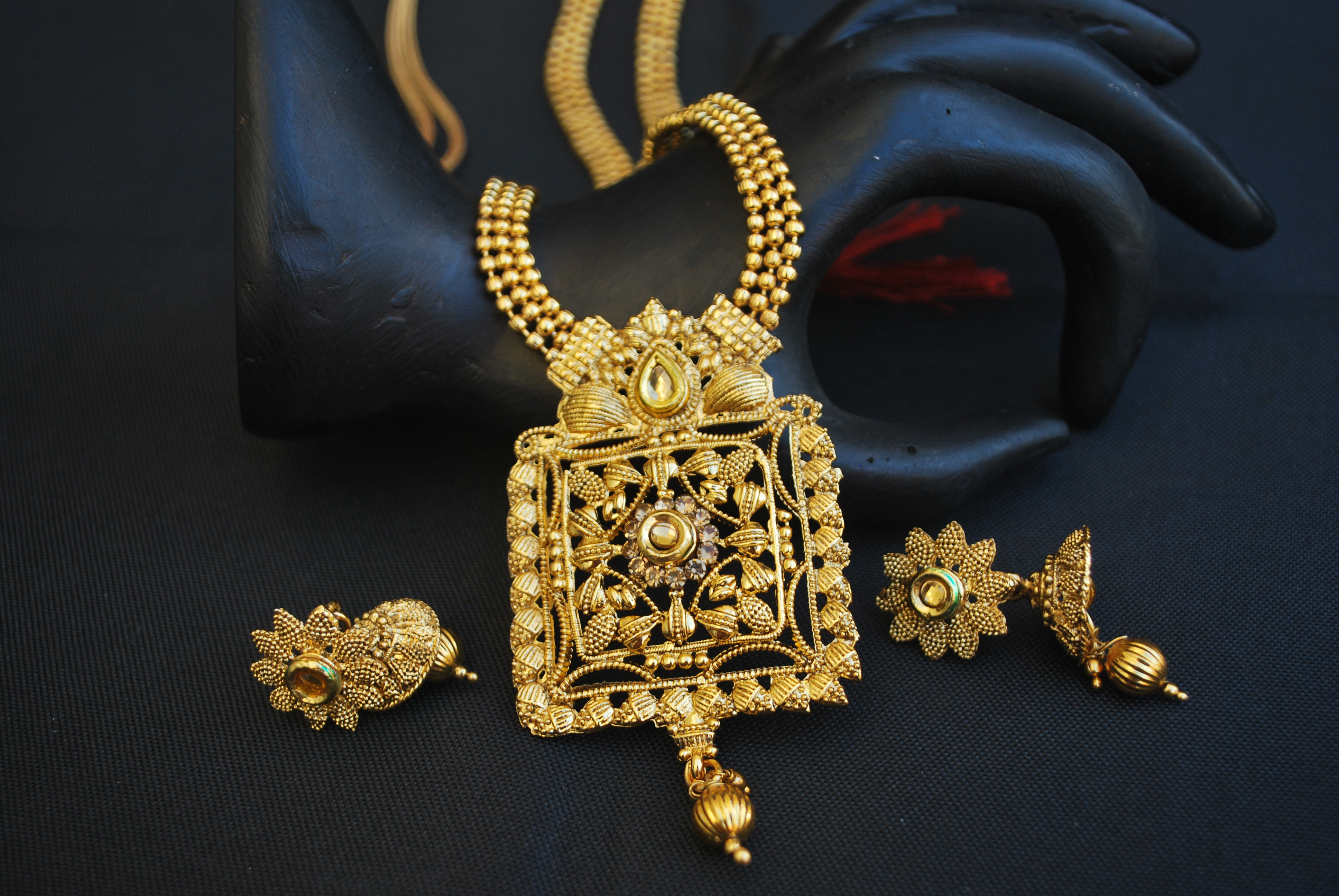 Artificial Traditional Fine Meenakari Long Haram Style Necklace Set