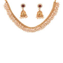 artificial copper base clustered seed pearls with jhumki jewelry set-1