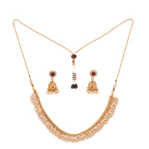 artificial copper base clustered seed pearls with jhumki jewelry set
