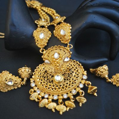 Imitation artificial gold plated strand necklace set for women