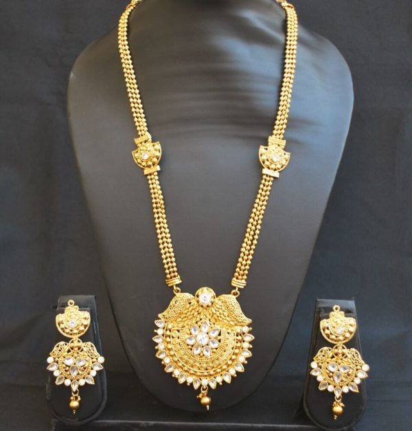 Imitation artificial studded white stone golden long necklace set-1