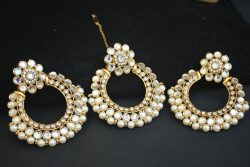 Artificial White Stone and Pearl Embellished Maang tikka Jewelry set