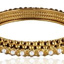Artificial Base Metal Bangle with White Pearls Set for Women-1