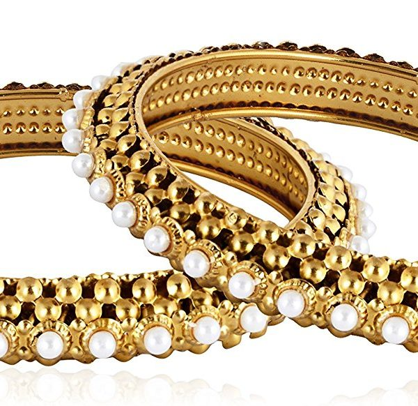 Artificial Base Metal Bangle with White Pearls Set for Women-2
