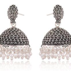 artificial black oxidized jhumki earrings for women-1