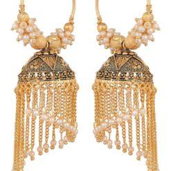 artificial designer clustered white pearls base base metal bali's for women
